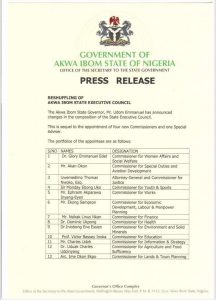 New Akwa Ibom commissioners